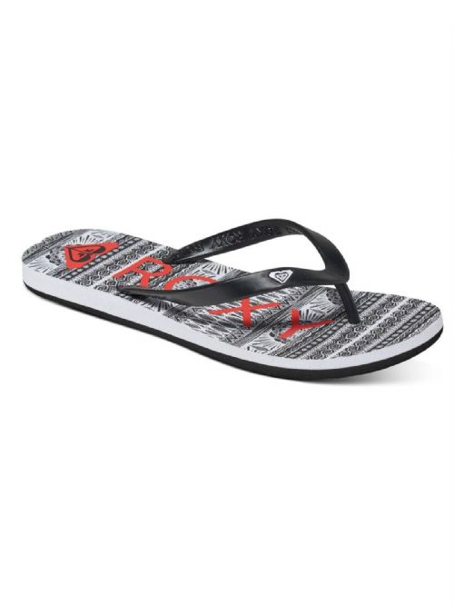 ROXY WOMENS FLIP FLOPS.NEW TAHITI BLACK/WHITE BEACH THONGS SANDALS 7S/132/KWS